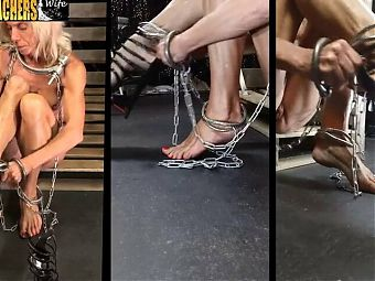 Trying on heels in shackles and chains