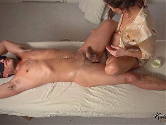 Fucking on the Massage Table and Sensual Handjob - Kate Marley