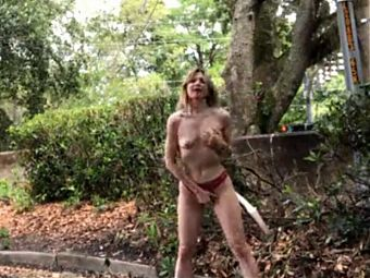 Vintage Public Paulina: Her first video stripping + cumming!