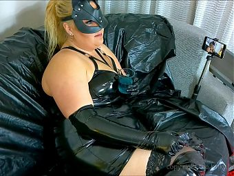 shy kitty in latex smoking and drinking (no sex) part 1