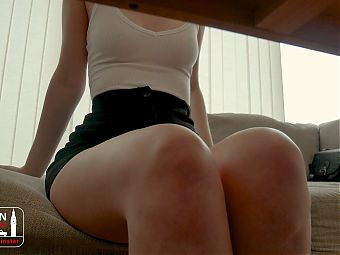 Filming Sexy Step-Sister Under Desk