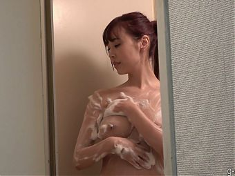 Slender Japanese Girl with Natural Big Tits in the Shower